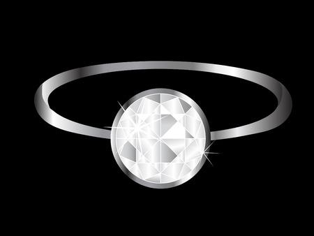 pinchbeck: Engagement diamond ring - vector illustration Illustration