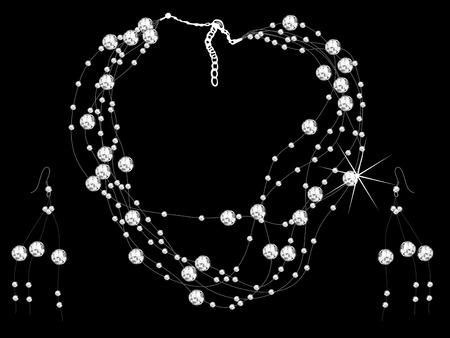 colliers: Diamant Collier et boucles d'oreilles - illustration vectorielle