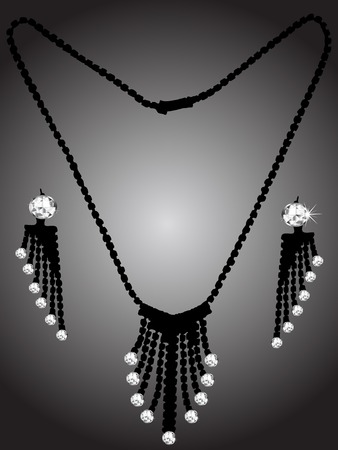 diamond earrings: Diamond necklace and earrings - vector illustration