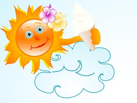 sun cream: Sun with ice cream - vector illustration Illustration