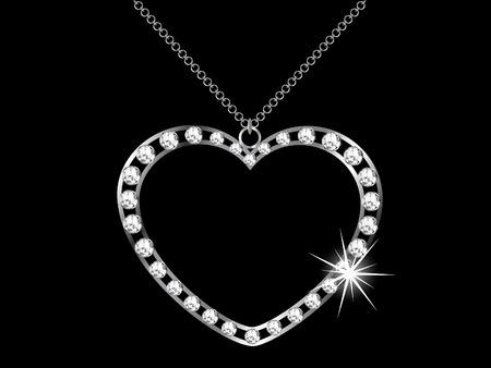 Diamond heart necklace - vector illustration