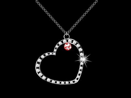 necklaces: Diamond heart necklace - vector illustration