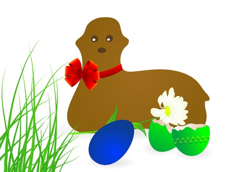 paschal lamb: Spring easter background with lamb -  illustration