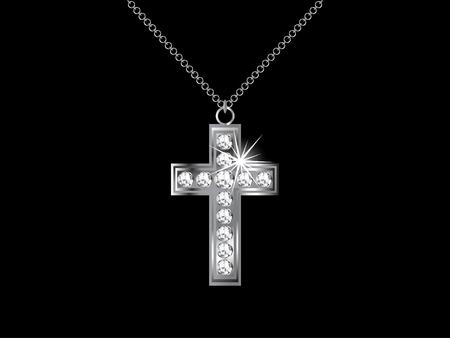 Necklace with diamond cross - illustration Ilustração