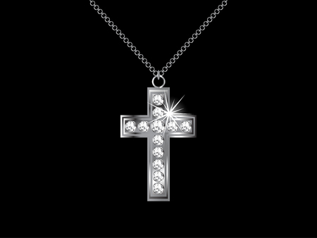 Necklace with diamond cross - illustration Vector