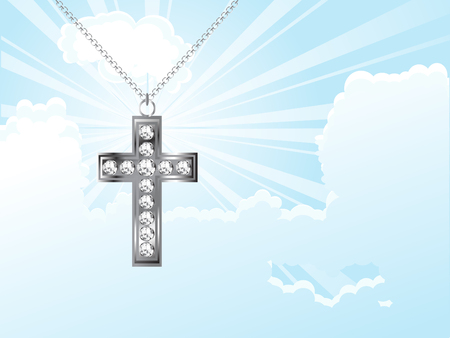 brilliancy: Cross against the cloudy sky - illustration