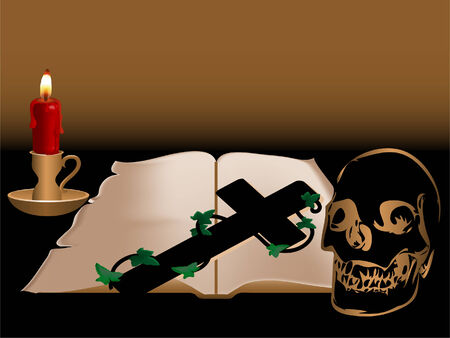 candlestand:  illustration of old book, candle and skull Illustration