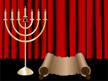Chanukkia und Torah Blättern auf rote satin Hintergrund Vektorgrafik