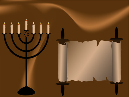 jews: Menorah and Torah scroll on brown abstract background