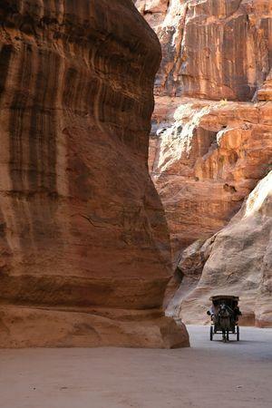 The horse carriage in Siq, Petra,Jordan photo