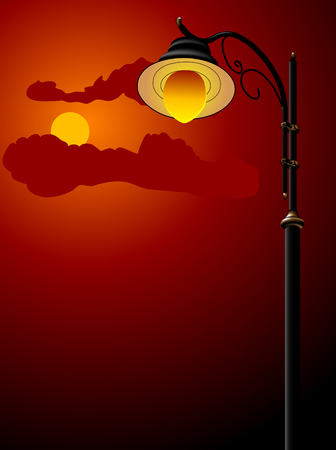 cloudy night sky: City lamp against the night sky