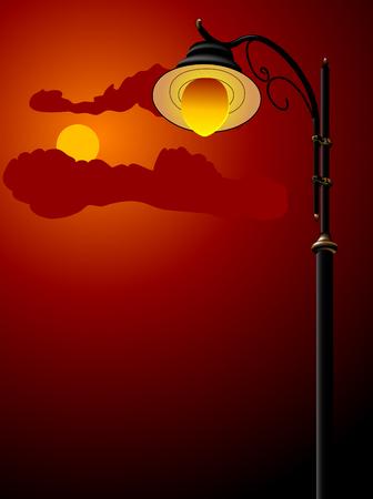 ciel rouge: Feu de ville contre le ciel nocturne Illustration