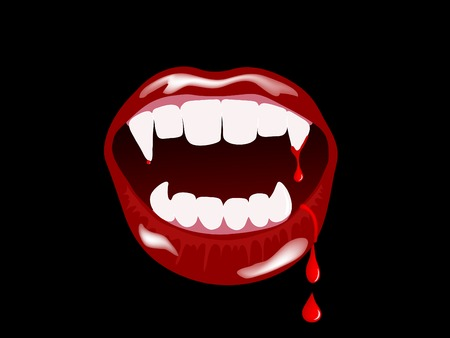 lips smile: Vampire mouth with drops of blood