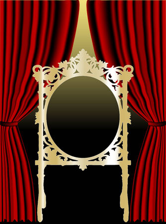 classical theater: Golden frame in front of red curtain Illustration