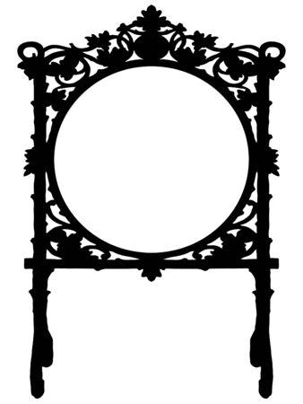 Black baroque frame on white background
