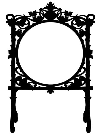 baroque border: Black baroque frame on white background Illustration