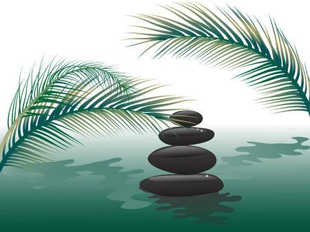 massage stones: Spa stones in water with palm leaves Illustration
