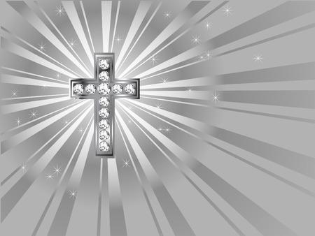 Diamond cross on the grey background Stock Vector - 7282590