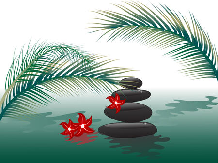 art therapy: Spa stones in water with palm leaves Illustration