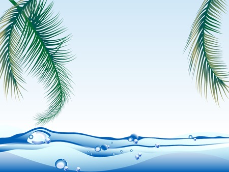 Sea level and the palm leaves Stock Vector - 7305588