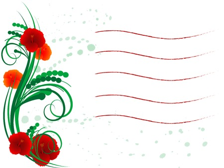 Floral frame with lines for your text Vector
