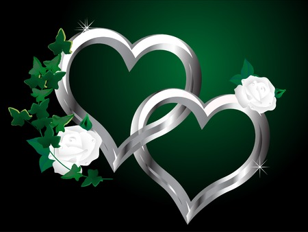 hearts and roses: Two silver hearts and the white rose Illustration