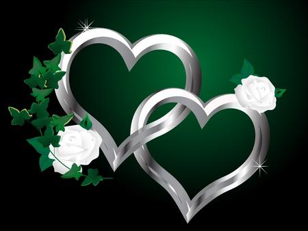 Zwei silberne Herzen und die weiße rose