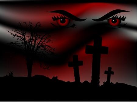 Scary bloody night and the predator eyes Векторная Иллюстрация