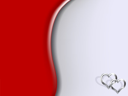 Two silver hearts on red background Stock Vector - 7312638