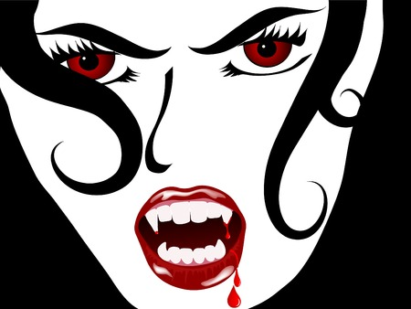 Face of the sexy vampire lady Vector