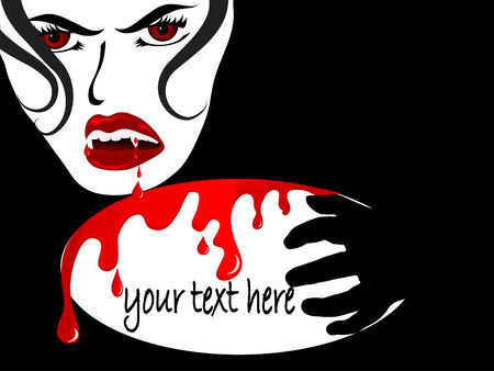 dangerous woman: Face of the sexy vampire lady with place for your text Illustration
