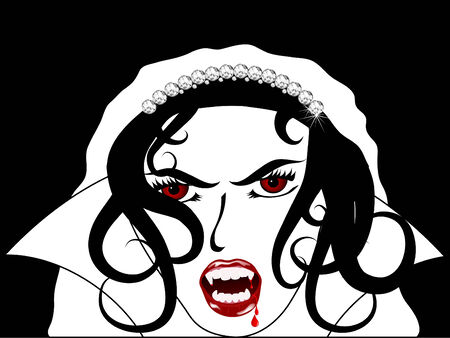 Face of the sexy vampire bride Vector