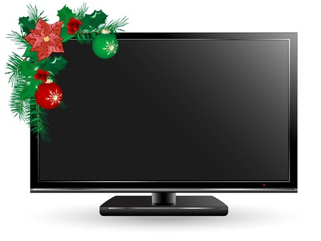 Black plasma or lcd television with Christmas decoration Vector