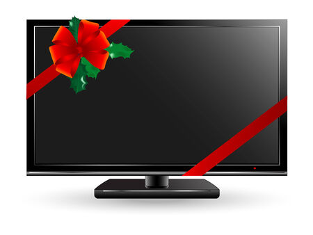 Black plasma or lcd television with Christmas decoration Stock Vector - 7386241