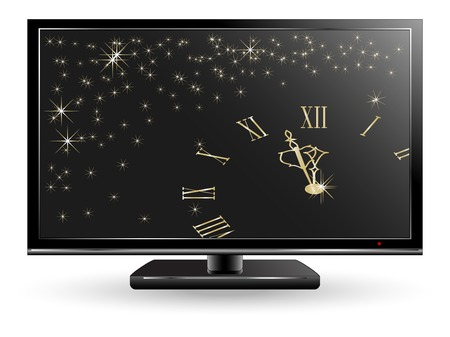 New Year clock on the television screen Stock Vector - 7386247
