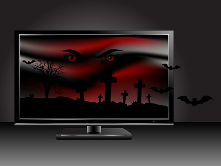 churchyard: Horror scene on the television screen Illustration