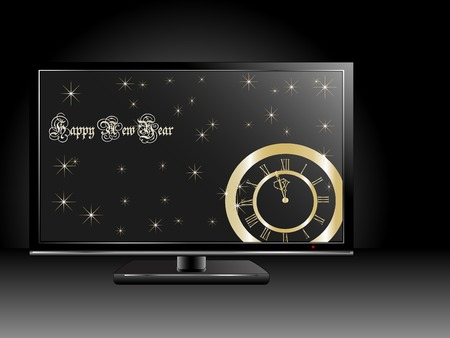 New Year clock on the television screen Stock Vector - 7386251
