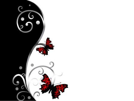 두 나비와 추상 검은 색과 흰색 배경