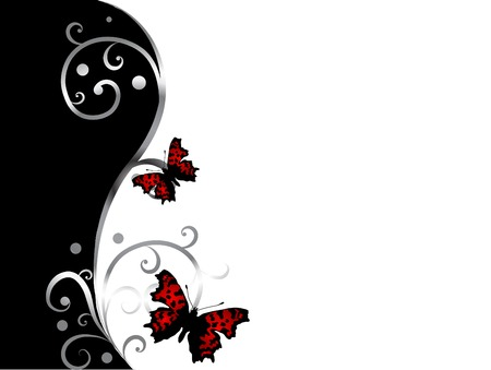 silver anniversary: Abstract black and white background with two butterflies
