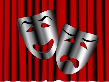 comedy and tragedy masks: Comedy and tragedy theater masks - illustration