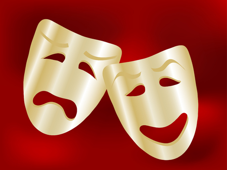 theatrical: Comedy and tragedy theater masks - illustration