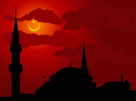 cloudy night sky: Silhouette of mosque against cloudy night sky