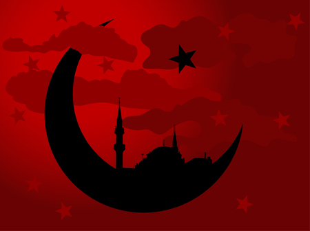 cloudy night sky: Silhouette of mosque in moon against cloudy night sky