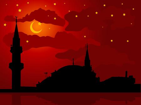 prayer tower: Silhouette della moschea contro il cielo nuvoloso notturno