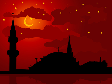 muslim prayer: Silhouette of mosque against cloudy night sky