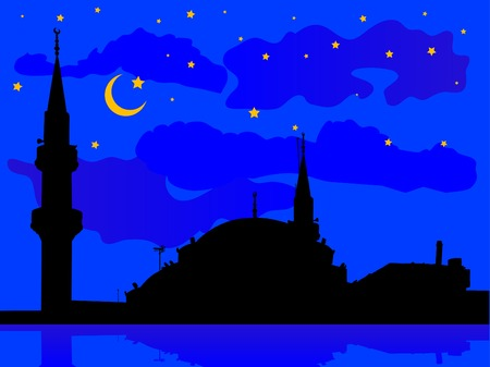 Silhouette of mosque against cloudy night sky