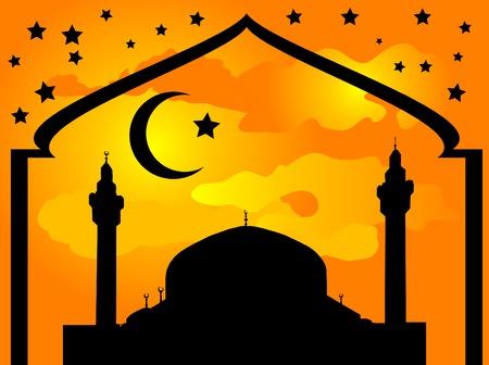 prayer tower: Silhouette della moschea contro il cielo nuvoloso giallo
