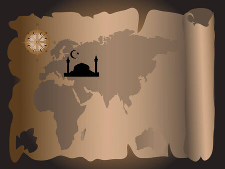 believer: Old map with the silhouette of mosque