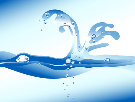 Water splash in blue color Stock Vector - 7565731