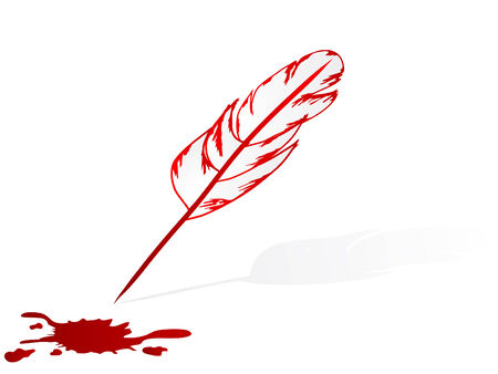 blood stain: Feather pen and blood stain - vector illustration Illustration